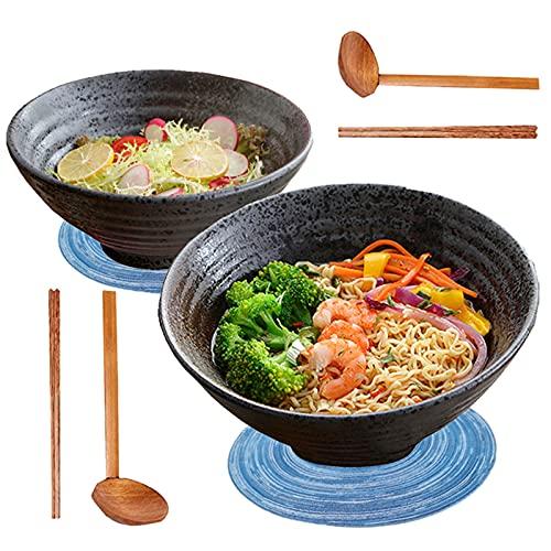2 Juegos Cuencos De Ramen Japonés De Cerámica, 1000ml Tazón Sopa Grande con Cuchara Palillos a Juego.Pasta, Fideos, Cereales, Postre, Aperitivo Etc. Ensaladera (A)