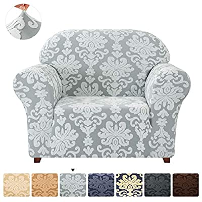 CHUN YI Sofa Slipcover 1-Piece Elegant  Stretch Couch Cover, Jacquard Damask Chair Loveseat Replacement Easy Fitted Durable Furniture Protector(Small, Light Gray)