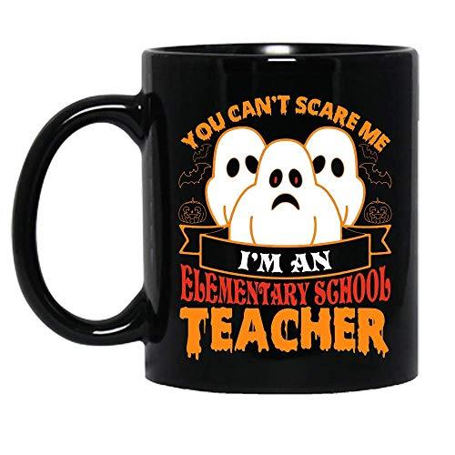 N\A You Can 't Scare Me I' m un Maestro de Escuela Primaria Disfraz de Halloween Fiesta Taza de cermica Tazas de caf grficas Tazas Negras Tapas de t Novedad Personalizada 11 oz