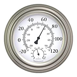 Bjerg Instruments 8 Satin Nickel Finish Decorative Indoor/Outdoor Thermometer and Hygrometer