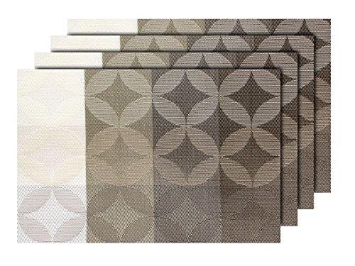 Alsino Lot de 4 Sets de Table Tricolor dégradé Blanc Beige Marron (TS-128) qualité supérieure en PVC tressé: 45 x 30 cm. Le Set de Table a Un bel Aspect avec sa matière tissée et Brillante Élégant