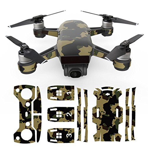Price comparison product image Vanvler Exquisite Camouflage Decals Waterproof Decal Skins Wrap Sticker Body Protector for DJI Spark Mini Drone (D)