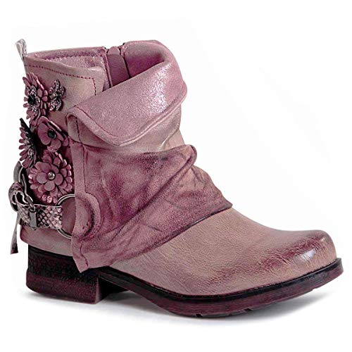 topschuhe24 1476 Damen Stiefeletten Worker Biker Boots Blume, Größe:36 EU, Farbe:Altrosa