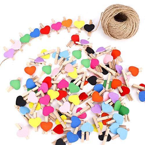 FT-SHOP Clips de Fotos de 100 Piezas Mini Pinzas de Madera Fotográfico Clavijas en Forma de Corazón Craft Clips con 30m Cordel de Yute para Foto Titular de Tarjeta de decoración y Bricolaje Artesanal