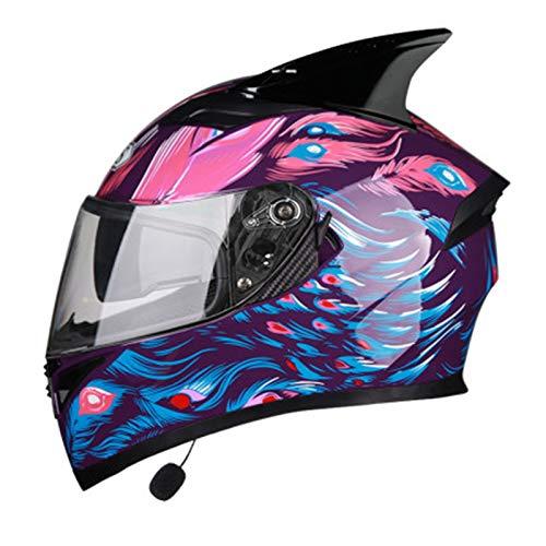 Casco Moto Integral Adulto,Casco Bluetooth Motocicleta con Función de Respuesta Automática,ECE Homologado con Visera Solar Doble Altavoz Incorporado Motocross Scooter Casco A,XXL=62~63cm