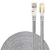 LANケーブル CAT7準拠 [Danyee®一年間保証] インターネットケーブル 結束マジックテープ付き 長さ1M 3M 5M 8M 10M 20M (3M, ホワイト)