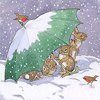Christmas Cards (MG-349114 XPE) - Rabbits Sheltering Under Umbrella - Pack of 8 Cards - From The Christmas Classics Range