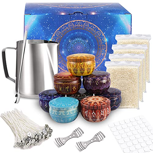 Candle Making Kits, DIY Candle Making Supplies with Heat-Proof Container, 8 Candle Jars, Clips, Spoon, Stickers, Wicks and Beeswax for Kids Adults