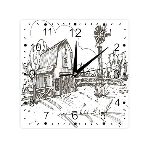 Rústico granero granero ilustración dibujado a mano campo prado rural color cuadrado morden reloj Slient