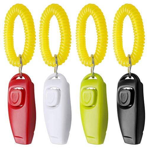 nuoshen 4 Piezas de clickers de Entrenamiento para Perro, Silbato 2 en 1 y clicker con Correa para la muñeca para Entrenamiento de Mascotas