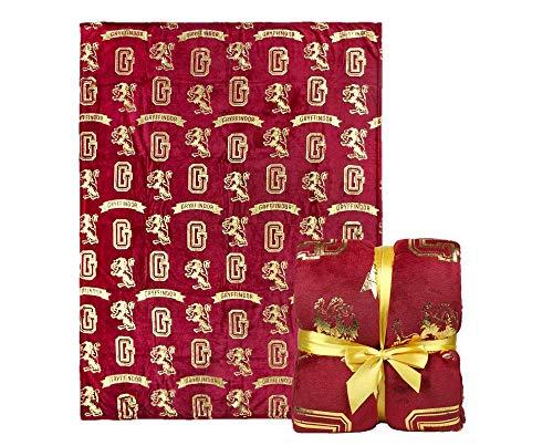 Harry Potter | Luxuriöse Premium Exclusive Gryffindor Rot Decke | Helle Mutige Druckdecke | Warme Weiche Fleecedecke | Reisen Oder Zu Hause | 130 x 170 cm |