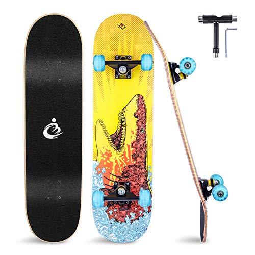 Skateboard 31x8 Zoll Komplette Cruiser Skateboard für Kinder Jugendliche Erwachsene, 8-Lagiger Chinesischer Ahorn Double Kick Deck Concave mit All-in-one Skate T-Tool für Anfänger, Belastung 150 kg