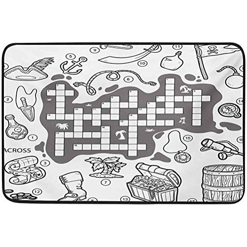 YUAZHOQI Word Search Puzzle Door mat, Colorless Pirates Themed Educational Puzzle Treasure Map and Icons, 23.6' x 35.4' doormats for Outdoor Entrance Monogram, Grey Black White