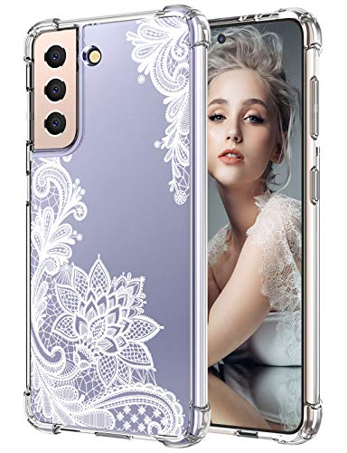 Compatible with Samsung Galaxy S21 Case Original Design Black Clear Lace Flower Pattern Case Slim Shockproof Flexible Bumper Phone Case Soft Rubber Silicone Case for Samsung S21 6.2 Inch