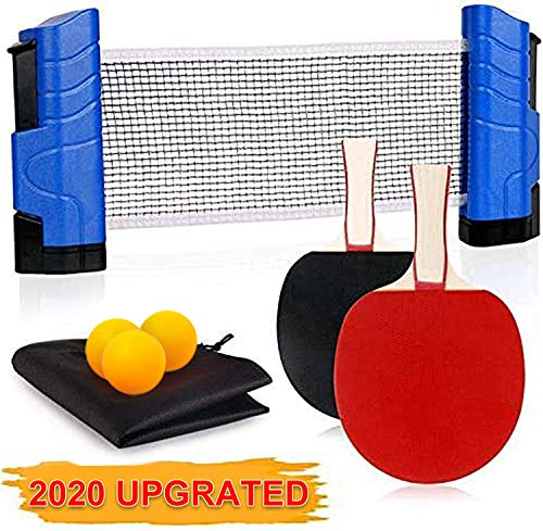 Funsraying Anywhere Ping Pong Equipment to-Go Includes Retractable Net Post, 2 Ping Pong Paddles,3 pcs Balls, Attach to Any Table Surface, for All Ages, Lake Blue