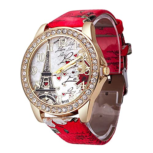 Reloj para Mujer Colorful Eiffel Tower Love Watch Red