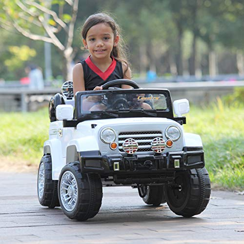 JAXPETY 12V Kid Ride one Truck with Remote Control, Battery Powered Electric Ride on Vehicle with Music Horn MP3 Player LED Lights, White
