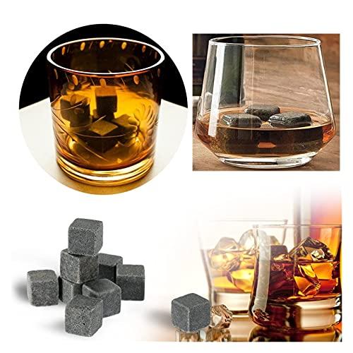 DEYUCHANG 9 x Cubo de cúbito, Juego de Regalo de Piedras de Whisky, jabón Natural y Rocas de refrigeración de Granito, Rocas de Hielo de Metal de Acero Inoxidable