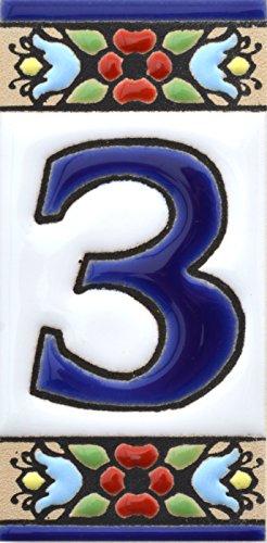 Hausnummer. Schilder mit Zahlen und Nummern auf Keramikkachel. Handgemalte Kordeltechnik fuer Schilder mit Namen, Adressen und Wegweisern. Design FLORES MINI 7,3 cm x 3,5 cm (Nummer DREI