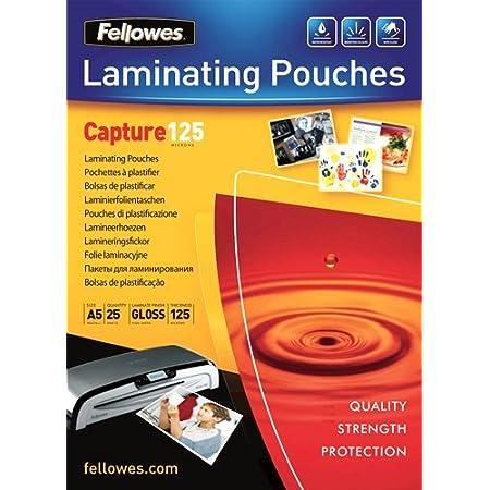 Fellowes 5396101 - Pack de 25 fundas de plastificar, formato A5, 125 micras
