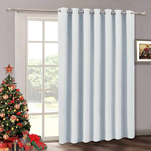 RYB HOME Room Darkening Bedroom Curtains - Vertical Blinds for Sliding Glass Door, Thermal Insulated Curtain Panel for Patio Door Dining Window Closet, 100 W x 84 L, Grayish White