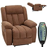 HOMHUM Massage Recliner Chair Fabric Heated Ergonomic Lounge Chair Overstuffed Reclining Chair Single Sofa for Living Room, Remote Control, Chocolate