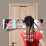 LIUZKH Espejo de maquillaje plegable de tres lados, tipo colgante retráctil, altura ajustable, espejo de peluquería