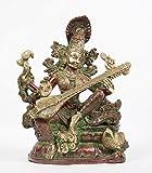 Arihant Craft Hindu Godess Saraswati Idol Sarasvati Statue Sculpture Hand Work Showpiece – 28.5 cm (Brass, Red, Green)