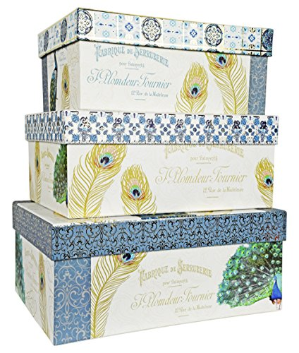 Alef Elegant Decorative Delicate PeacockThemed Nesting Gift Boxes -3 Boxes- Nesting Boxes Beautifully Themed and Decorated - Perfect for Gifts or Simple Decoration Around the House!