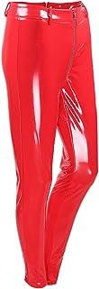 WSPLYSPJY Women's Faux Leather Wet Look Shiny Metallic High Waist Legging Pants Trousers