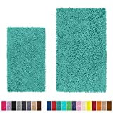 LuxUrux Bathroom Rug Set, Extra-Soft Plush Luxury Bath Mat Set, 1'' Chenille Microfiber Material, Super Absorbent Bathroom Rugs (Rectangular Set, Turquoise)