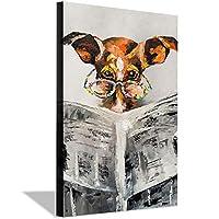 犬の読書新聞壁アートキャンバス絵画ポスターとプリントリビングルームオフィス装飾絵画家の装飾壁キャンバス