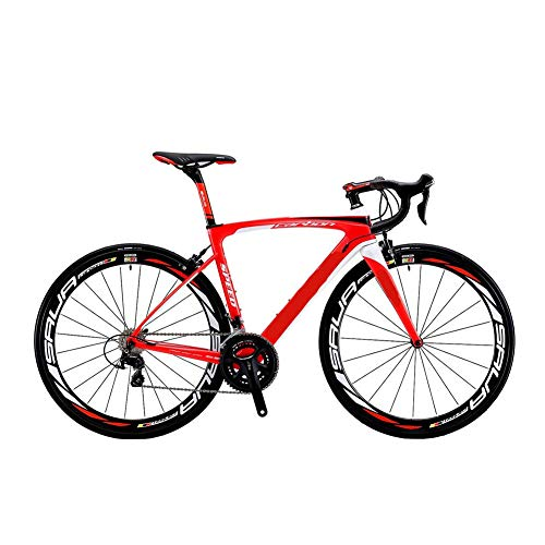 HZWZ City Bike Carbon Road Bike, Carbon Fiber 700C Road Bicycle with 105 22 Speed Groupset Ultra-Light Carbon Wheelset Seatpost Fork Bicycle,Red,A