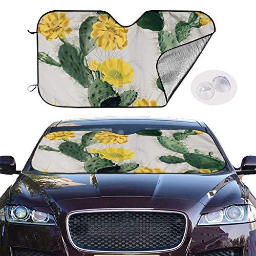 mchmcgm Sombrilla protectora Golden Cactus Flower Auto Windwhield Sun Shades Universal Fit 51,2 x 27,6 pulgadas Window Keep Your Vehicle Cool Visor para SUV Sunshade Cover