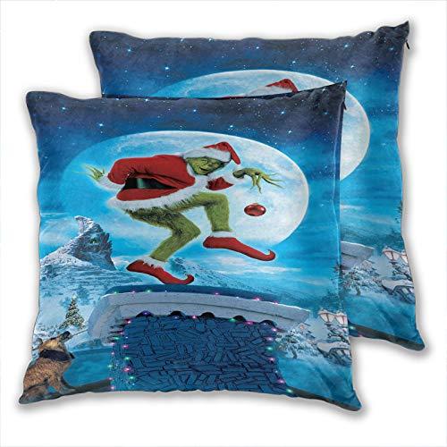 Anzonto - Set di 2 federe per cuscini per divano e poltrona, motivo natalizio con stole in piedi sul camino, per divano, sedia, per casa, casual, 55 x 55 cm