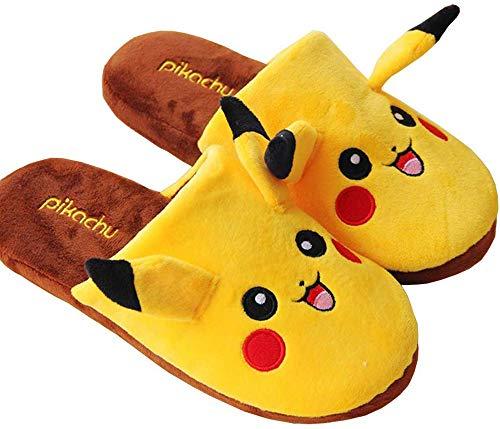 XHH Pikachu Hausschuhe Damen Herren Winter Plüsch Wärme Weiche Baumwolle Pantoffeln Unisex Home Flauschige Slippers,43