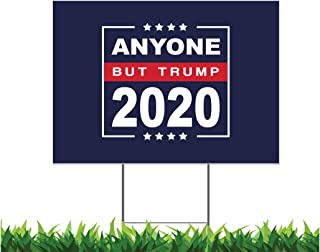 egeek amz Anyone But Trump 2020 18x24-inch One Sided Yard Sign (Outdoor, Weatherproof Corrugated Plastic) Metal H-Stake Included