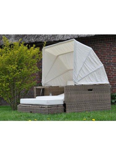Polyrattan Liegeinsel Beach Lounge Cubu Cream Grey Wetterfest Hochbequem Gartenmöbel Terrasse