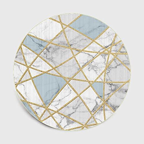 2021 Elegante Nórdico Moderno Imitación Marmolado Línea Dorada Sala de Estar Dormitorio Decoración Cesta Colgante Alfombra Redonda Alfombra-03,100x100cm