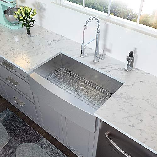 33 Farmhouse Sink - Lordear 33 inch Kitchen Sink Apron Front 16 Gauge Stainless Steel Tight Radius Deep Single Bowl Farm Kitchen Sinks
