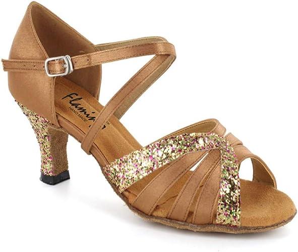 HCCY Chaussures de Danse Latine en Satin Marron Chaussures pour Dames à Fond Mou Dames en intérieur, 5,8 cm, 35 cm