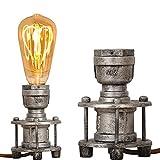 Vintage Industrial Table Lamp Steampunk Antique Holder - Retro Small Floor Desk Lamp Base - Bedside Night Reading Light for Lounge Loft Living Room Kids Bedroom Decoration (Metal Silver, no E27 Bulb)