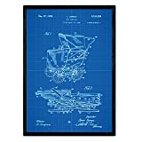 Nacnic Poster con patente de Carrito bebe sentado. Lámina con diseño de patente antigua en tamaño A3 y con fondo azul