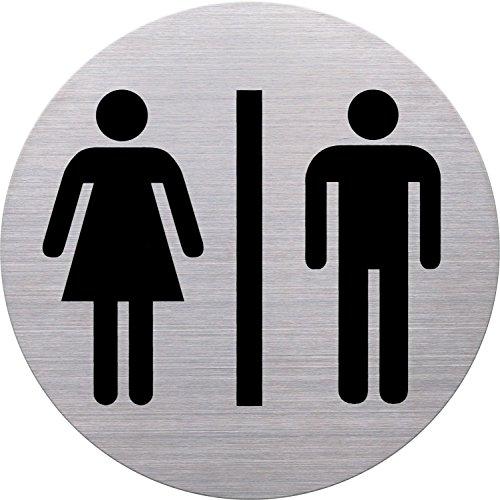 helit h6271100–pittogramma WC uomo e donna, diametro 115mm, autoadesiva, con adesivo, Acciaio Inossidabile
