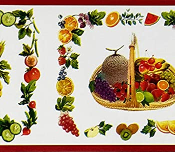 Dundee Deco MGAZBD2110 Peel and Stick Kitchen Red Orange Yellow Purple Brown Food Baskets Self Adhesive Wallpaper Border Roll 33 ft X 4 in  10m X 10cm
