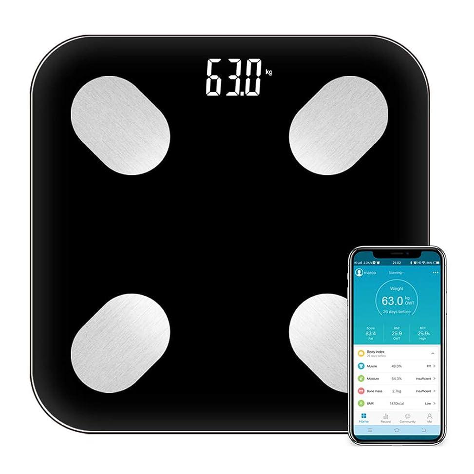 重力酸度重力HSBAIS スマート Bluetooth 体脂肪計、体重計 体組成計、体重、体脂肪、水分、筋肉、BMI、骨量などを測定します,black