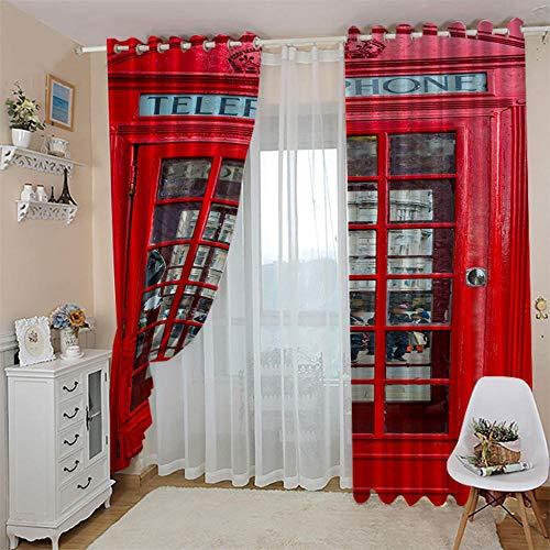 LWXBJX Cortinas Modernas Salon Opacas Dormitorio Modernos - Cabina de teléfono roja - Impresión 3D Aislantes de Frío y Calor 90% Opacas Cortinas - 234 x 230 cm - Salon Cocina Habitacion Niño Moderna