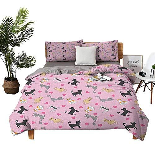 Dragon VINES Juego de cama de 4 piezas de tamaño completo, sábanas de tamaño king, hipster Cool Cat con gafas, bufanda, pendientes y flores, corazones pequeños, multicolor, fibra supersuave