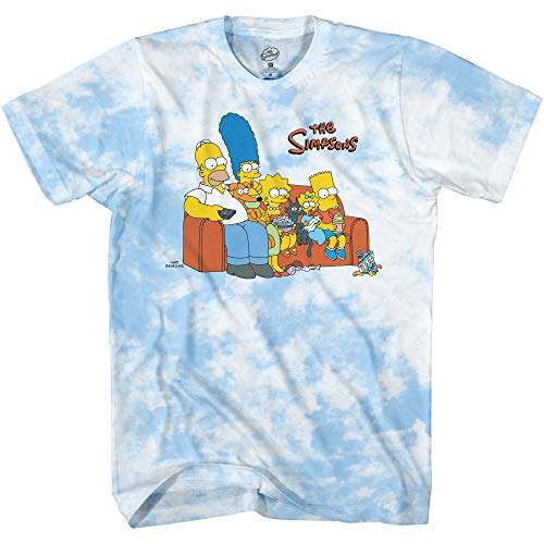 The Simpsons Mens' Bart Simpson Classic Shirt Homer, Bart, Krusty and Marge Tee Tie Dye T-Shirt (Light Blue Tie Dye, Medium)