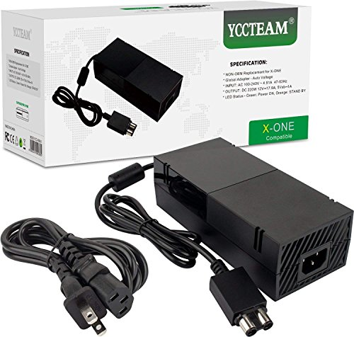 YCCTEAM Power Supply Brick for Xbox One, [Newest Updated Version] AC Adapter Cord Replacement Charger for Xbox One with Cable 100-240V Auto Voltage, Black